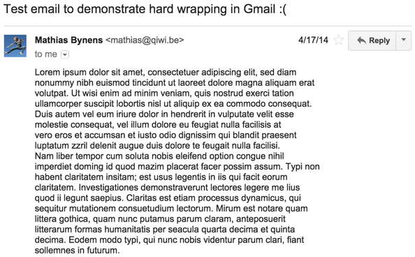 Dear Google, please fix plain text emails in Gmail · Mathias