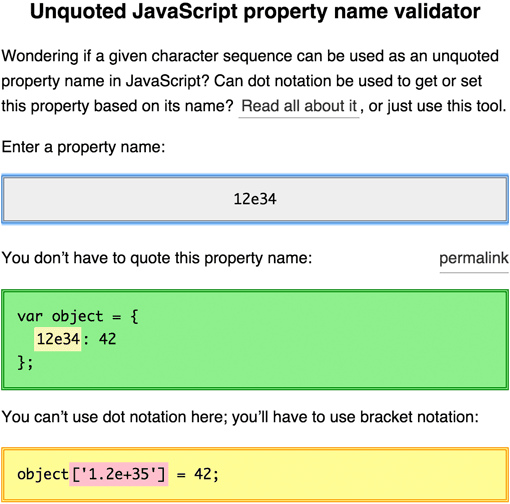 Unquoted property names / object keys in JavaScript